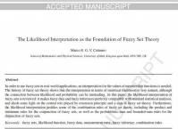 ترجمه مقاله انگلیسی : The Likelihood Interpretation as the Foundation of Fuzzy Set Theory