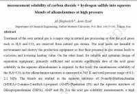 ترجمه مقاله انگلیسی:  measurement solubility of carbon dioxide  hydrogen sulfide into aqueous blends of alkanolamines at high pressure