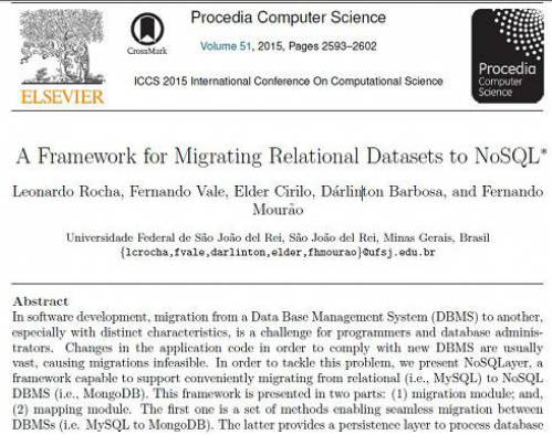 ترجمه مقاله انگلیسی : A Framework for Migrating Relational Datasets to NoSQL
